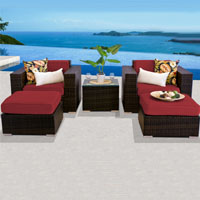 Deluxe Ocean View Henna Spice 5 Piece Outdoor Wicker Patio Furniture Set