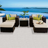 Deluxe Ocean View Ivory 5 Piece Outdoor Wicker Patio Furniture Set