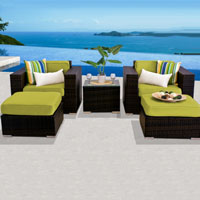 Deluxe Ocean View Peridot 5 Piece Outdoor Wicker Patio Furniture Set