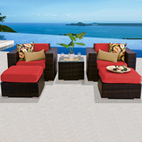 Deluxe Ocean View Red Spice 5 Piece Outdoor Wicker Patio Furniture Set