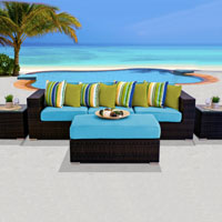 Modern Ocean View Tropical Blue 6 Piece Outdoor Wicker Patio Furniture Set