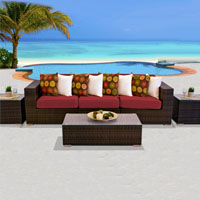 Modern Ocean View Henna Spice 6 Piece Outdoor Wicker Patio Furniture Set
