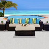 Modern Ocean View Ivory 6 Piece Outdoor Wicker Patio Furniture Set