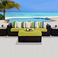 Modern Ocean View Peridot 6 Piece Outdoor Wicker Patio Furniture Set