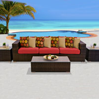 Modern Ocean View Red Spice 6 Piece Outdoor Wicker Patio Furniture Set