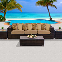Modern Ocean View Taupe 6 Piece Outdoor Wicker Patio Furniture Set