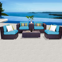 Elegant Ocean View Tropical Blue 6 Piece Outdoor Wicker Patio Furniture Set