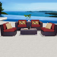 Elegant Ocean View Henna Spice 6 Piece Outdoor Wicker Patio Furniture Set