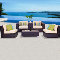 Elegant Ocean View Ivory 6 Piece Outdoor Wicker Patio Furniture Set
