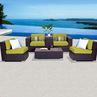 Elegant Ocean View Peridot 6 Piece Outdoor Wicker Patio Furniture Set