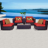 Elegant Ocean View Red Spice 6 Piece Outdoor Wicker Patio Furniture Set