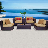 Elegant Ocean View Sand 6 Piece Outdoor Wicker Patio Furniture Set