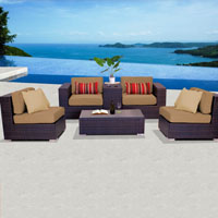 Elegant Ocean View Taupe 6 Piece Outdoor Wicker Patio Furniture Set