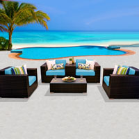 Deluxe Ocean View Tropical Blue 6 Piece Outdoor Wicker Patio Furniture Set