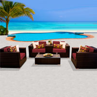 Deluxe Ocean View Henna Spice 6 Piece Outdoor Wicker Patio Furniture Set