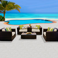 Deluxe Ocean View Ivory 6 Piece Outdoor Wicker Patio Furniture Set