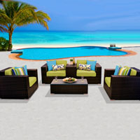 Deluxe Ocean View Peridot 6 Piece Outdoor Wicker Patio Furniture Set