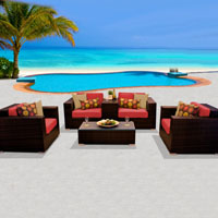 Deluxe Ocean View Red Spice 6 Piece Outdoor Wicker Patio Furniture Set