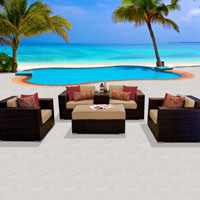 Deluxe Ocean View Taupe 6 Piece Outdoor Wicker Patio Furniture Set