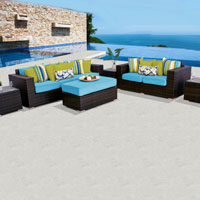 Elite Ocean View Tropical Blue 6 Piece Outdoor Wicker Patio Furniture Set