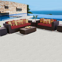 Elite Ocean View Henna Spice 6 Piece Outdoor Wicker Patio Furniture Set
