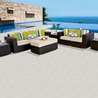 Elite Ocean View Ivory 6 Piece Outdoor Wicker Patio Furniture Set