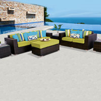 Elite Ocean View Peridot 6 Piece Outdoor Wicker Patio Furniture Set
