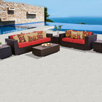 Elite Ocean View Red Spice 6 Piece Outdoor Wicker Patio Furniture Set