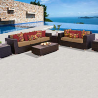 Elite Ocean View Taupe 6 Piece Outdoor Wicker Patio Furniture Set