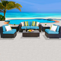 Deluxe Ocean View Tropical Blue 7 Piece Outdoor Wicker Patio Furniture Set