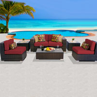 Deluxe Ocean View Henna Spice 7 Piece Outdoor Wicker Patio Furniture Set