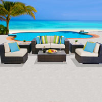 Deluxe Ocean View Ivory 7 Piece Outdoor Wicker Patio Furniture Set