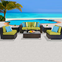 Deluxe Ocean View Peridot 7 Piece Outdoor Wicker Patio Furniture Set