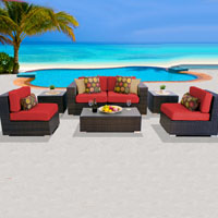 Deluxe Ocean View Red Spice 7 Piece Outdoor Wicker Patio Furniture Set