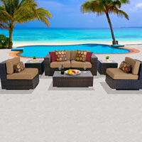 Deluxe Ocean View Taupe 7 Piece Outdoor Wicker Patio Furniture Set