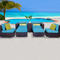 Elegant Ocean View Tropical Blue 7 Piece Outdoor Wicker Patio Furniture Set