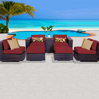 Elegant Ocean View Henna Spice 7 Piece Outdoor Wicker Patio Furniture Set