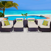 Elegant Ocean View Ivory 7 Piece Outdoor Wicker Patio Furniture Set
