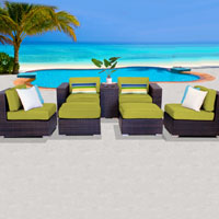 Elegant Ocean View Peridot 7 Piece Outdoor Wicker Patio Furniture Set