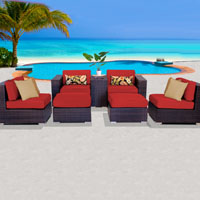 Elegant Ocean View Red Spice 7 Piece Outdoor Wicker Patio Furniture Set