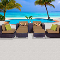 Elegant Ocean View Taupe  7 Piece Outdoor Wicker Patio Furniture Set