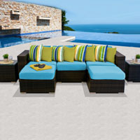 Modern Ocean View Tropical Blue 7 Piece Outdoor Wicker Patio Furniture Set