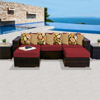 Modern Ocean View Henna Spice 7 Piece Outdoor Wicker Patio Furniture Set