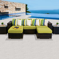 Modern Ocean View Peridot 7 Piece Outdoor Wicker Patio Furniture Set