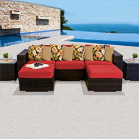 Modern Ocean View Red Spice 7 Piece Outdoor Wicker Patio Furniture Set