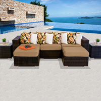 Modern Ocean View Taupe 7 Piece Outdoor Wicker Patio Furniture Set