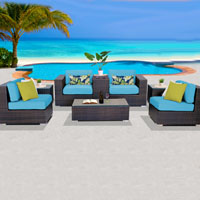 Basic Ocean View Tropical Blue 8 Piece Outdoor Wicker Patio Furniture Set