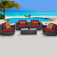 Basic Ocean View Henna Spice 8 Piece Outdoor Wicker Patio Furniture Set