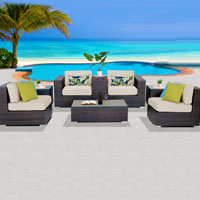 Basic Ocean View Ivory 8 Piece Outdoor Wicker Patio Furniture Set