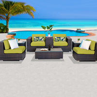 Basic Ocean View Peridot 8 Piece Outdoor Wicker Patio Furniture Set